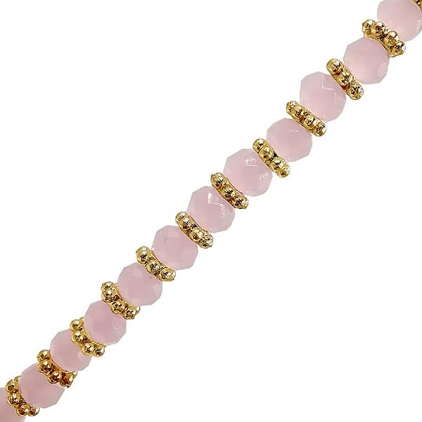 Rose Quartz Colour Glass Faceted Rondelle w/ Gold Spacers Necklace